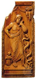 Asclepius, ivory diptych, 5th century AD