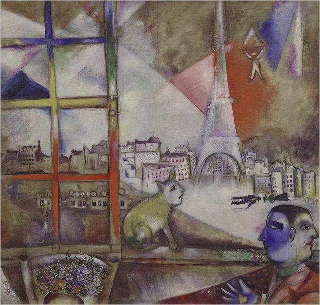 Paris through a window by Marc Chagall